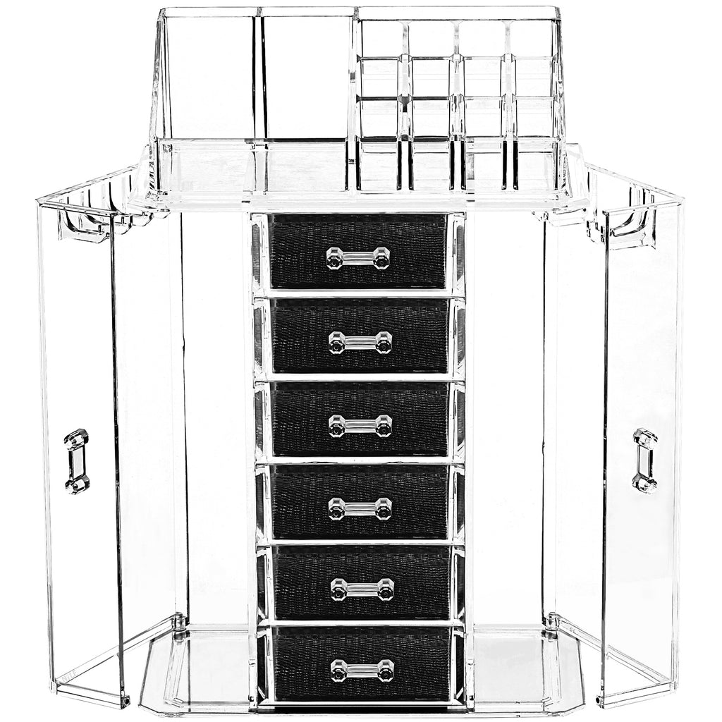 Ikee Design® Acrylic Makeup Organizer & Jewelry Storage Box (1 Top Rack, 6 Drawers, 10 Hooks)