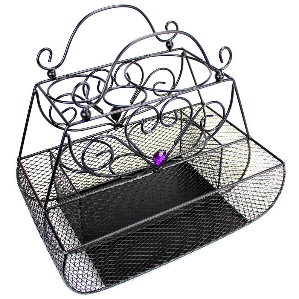 "Ikee Design® Black Metal Wire Styling Caddy Organizer. 12"" x 7.5"" x 11""H 