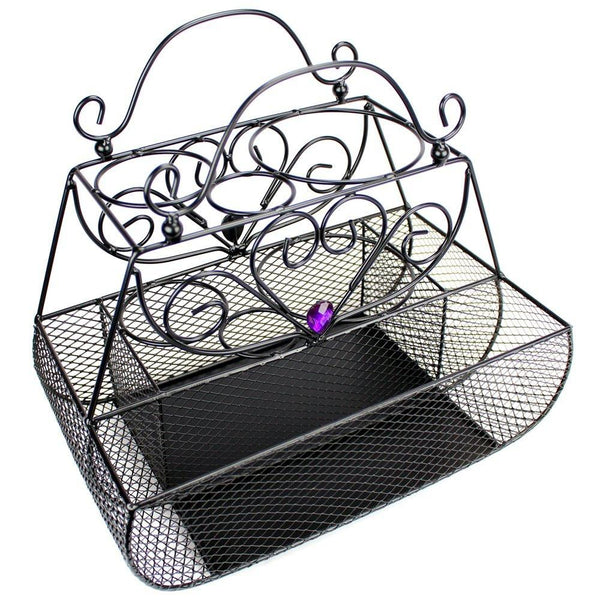 "Ikee Design® Black Metal Wire Styling Caddy Organizer. 12"" x 7.5"" x 11""H"