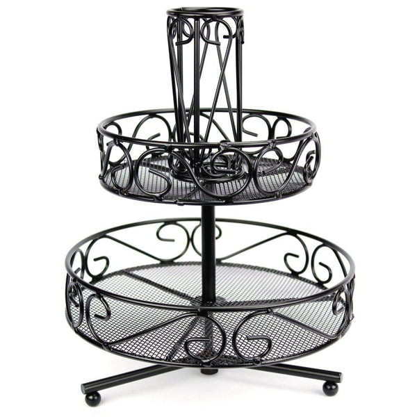 "Ikee Design® Black Metal Wire 2 Tiered Rotating Cosmetic Organizer. 8.5"" x 8.5"" x 11""H 