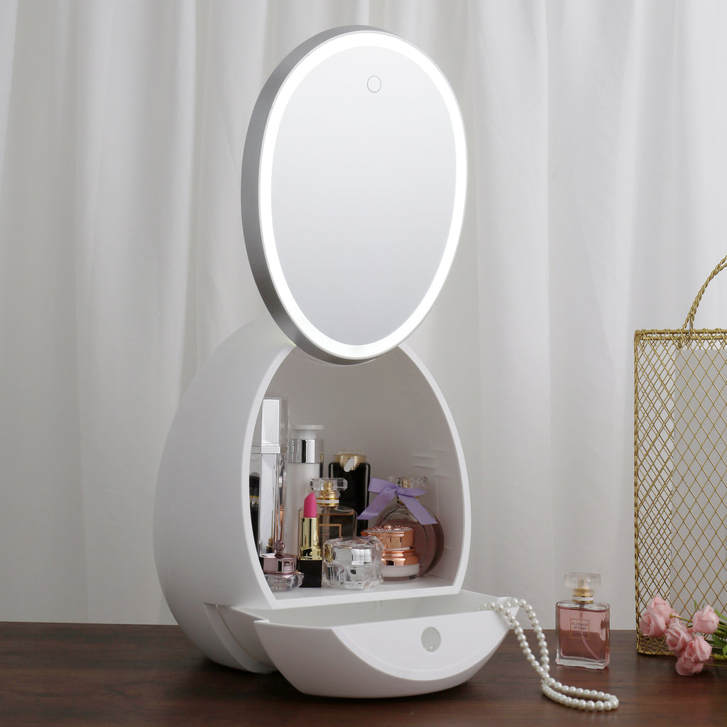 #COMS177WH LED Light Mirror Makeup Storage Organizer