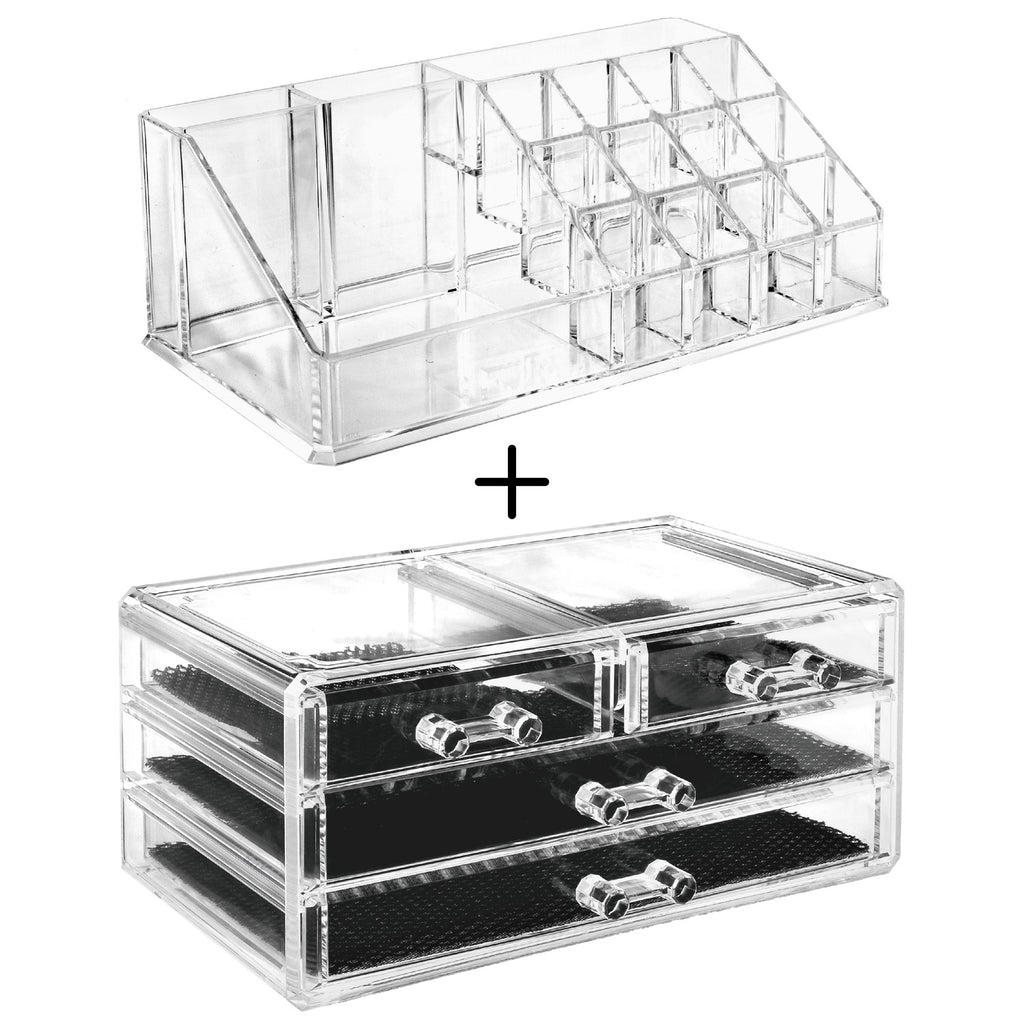 Ikee Design® Acrylic Jewelry & Makeup Organizer Display Boxes Two Piece Set