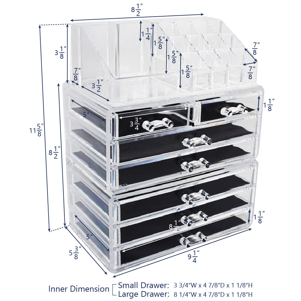 Ikee Design® Acrylic Makeup Organizer Jewelry Storage Case Three Pieces Set