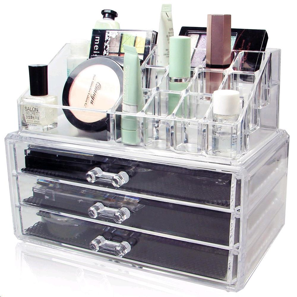 Ikee Design® Acrylic Makeup Organizer Jewelry Display Box Two Pieces Set