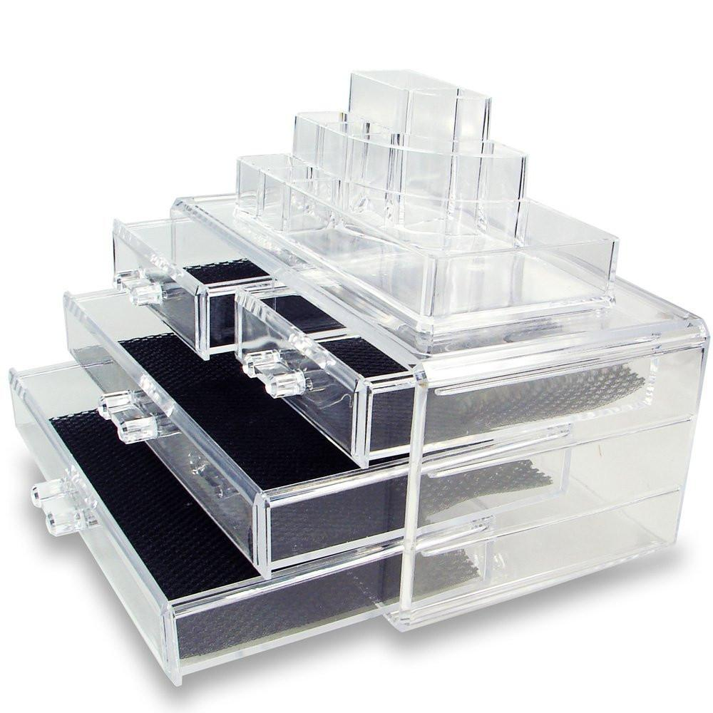Ikee Design® Acrylic Jewelry & Cosmetic Storage Display Boxes Two Pieces Set. 6 3/4''W x 3 1/2''D x 2 5/8''H