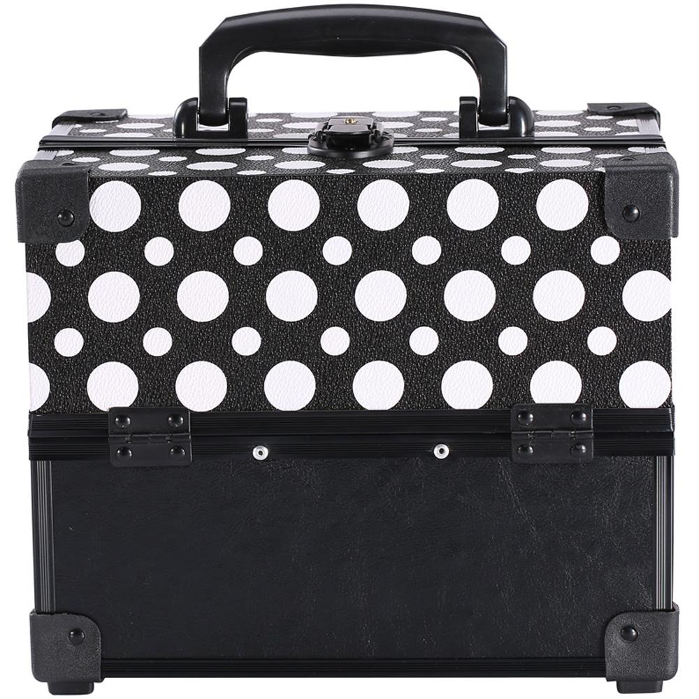Ikee Design® Black Polka Dot Makeup Travel Carrying Case with Sturdy Black Aluminum Frame