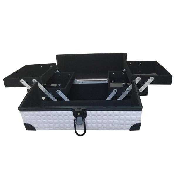 Ikee Design® White Makeup Carrying Case with Sturdy Black Aluminum Frame