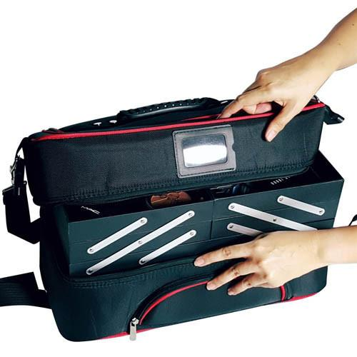 Ikee Design® Black Makeup Carrying Bag with Red Trim