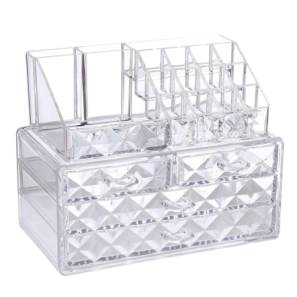 Ikee Design Diamond Pattern Acrylic Jewelry & Cosmetic Storage Display Boxes Two Pieces Set.