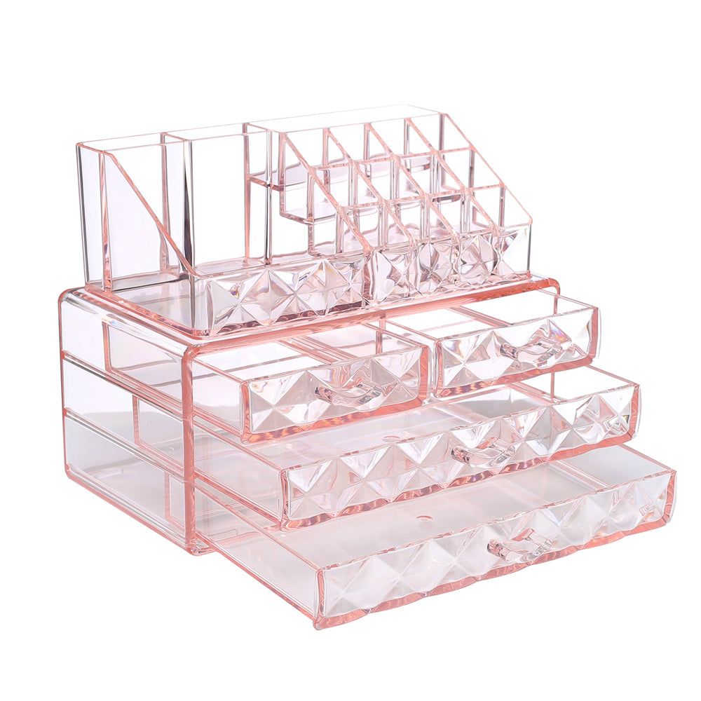 Ikee Design®Diamond Pattern Acrylic Jewelry & Cosmetic Storage Display Boxes Two Pieces Set. | Ikee Design