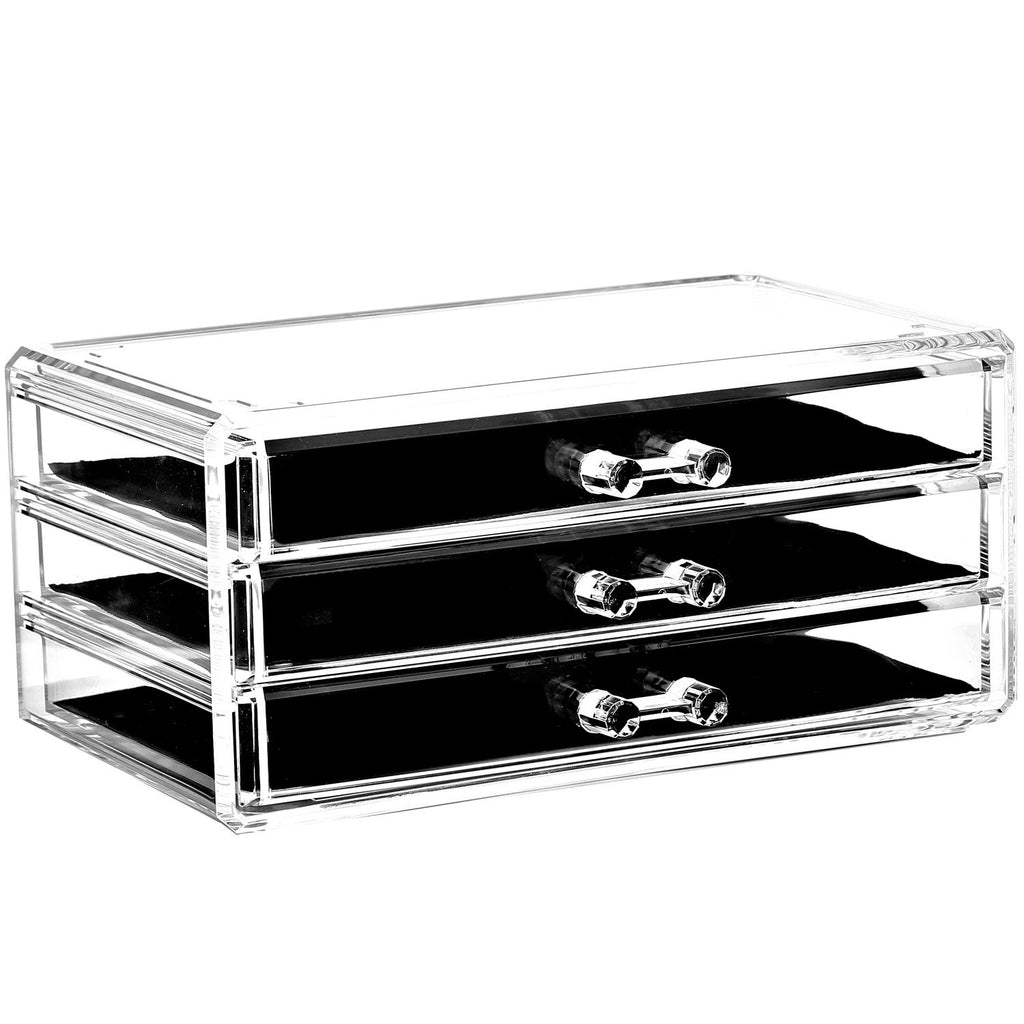 Ikee Design® Acrylic Jewelry and Makeup Organizer Storage Drawer, Three Pieces Set