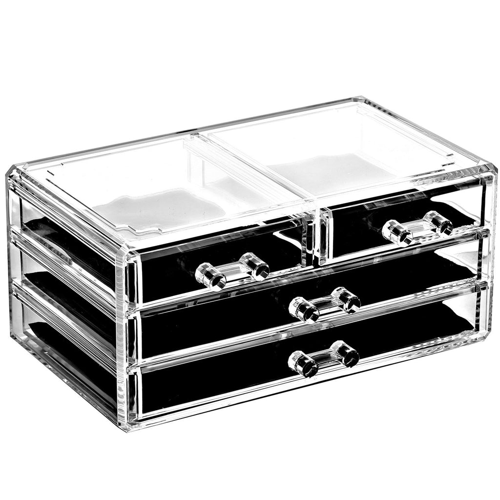 Ikee Design®Acrylic Jewelry and Makeup Organizer Storage Drawer, Five Pieces Set