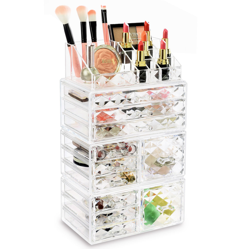Ikee Design 4 PCS Cosmetic Makeup and Jewelry Storage Display Case Set