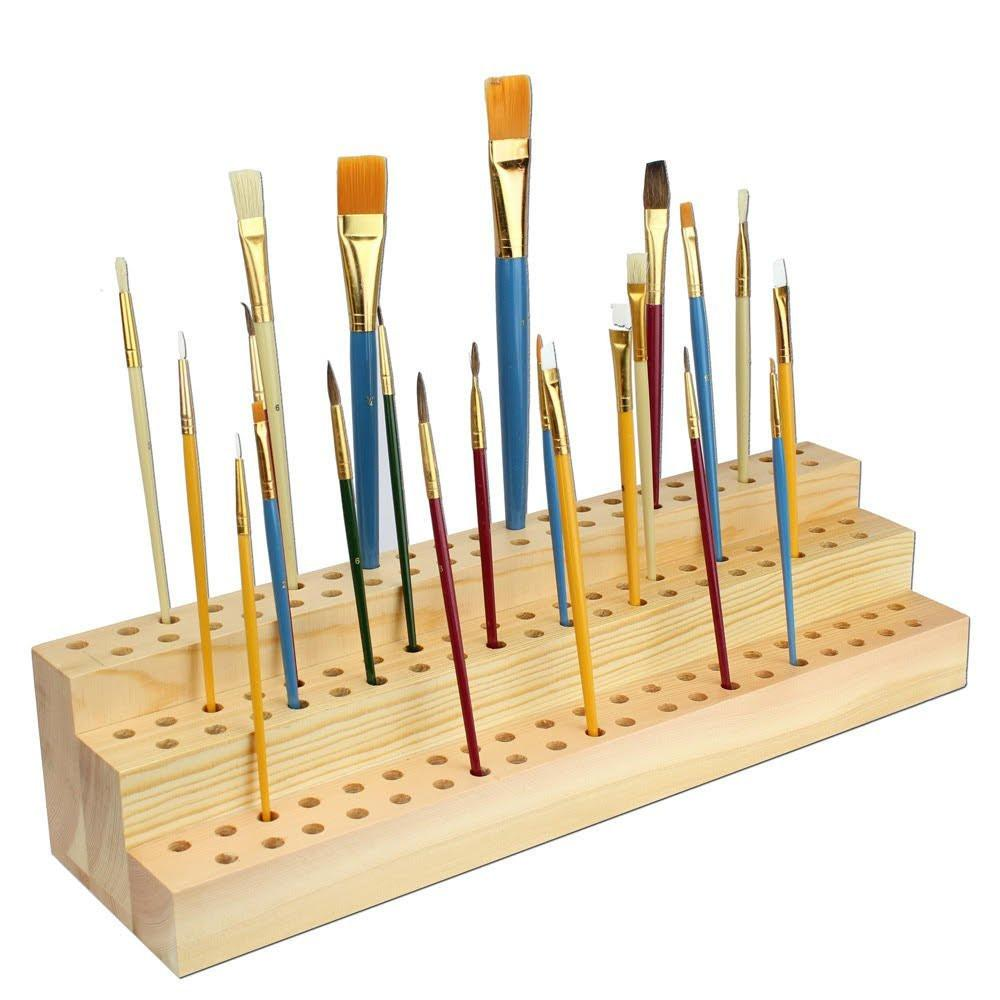 Ikee Design® Wooden Three-Leveled Paint Brush Holder Save Help Settings