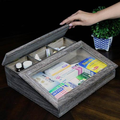 "Ikee Design® Antique Wooden Organizer Case, 14""W x 12""D x 4 1/4""H 