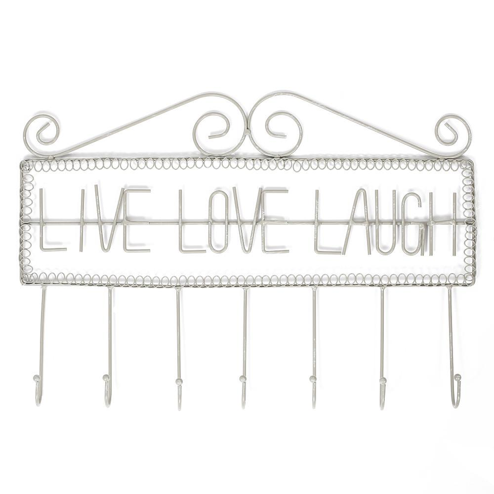 Ikee Design®Gray Metal Wall Mounted Live Love Laugh Wall Hooks Coat Rack Clothes Hanging