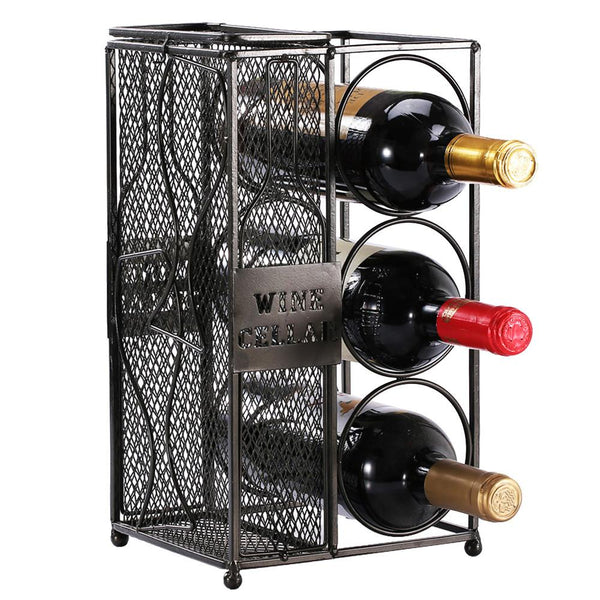 Ikee Design®Metal Work Wine Bottle Wine Rack and Cork Collector Holder Three Bottles | Ikee Design