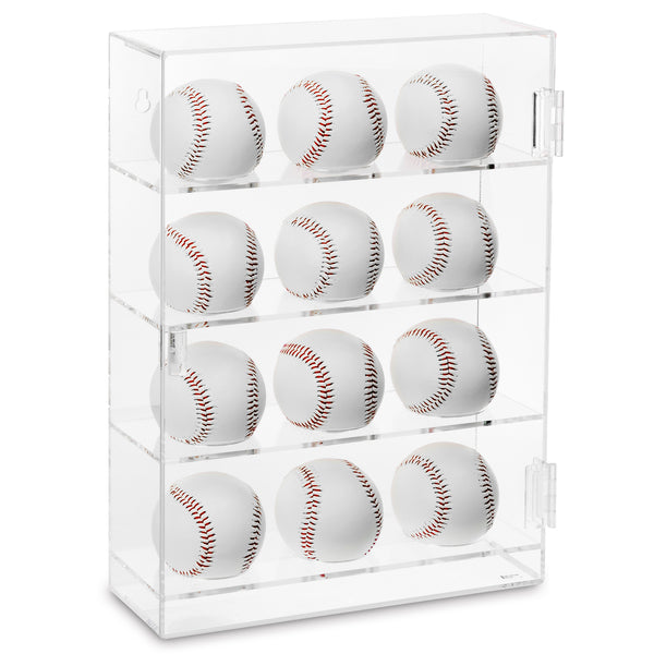 Ikee Design®Acrylic Mountable Baseballs Display Case Rack Storage for 12 Baseballs