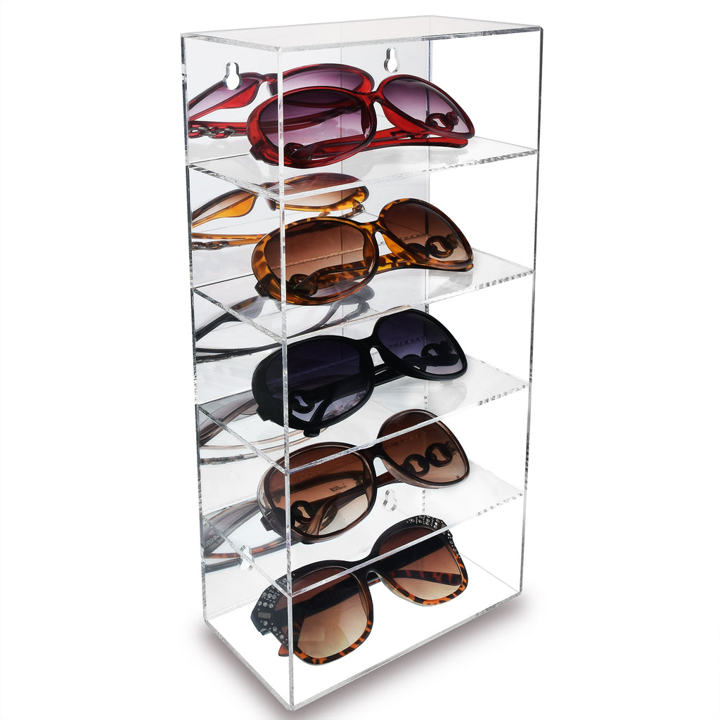 Ikee Design® Wall Mounted Acrylic Mirror Backed 5-Shelves Eyewear Display