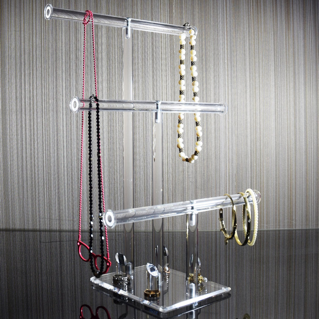 "Ikee Design®3-Tier Acrylic Necklaces Bracelets Rings Stand Holder Jewelry Display 10""W x 6 1/4""D 14 3/4""H"