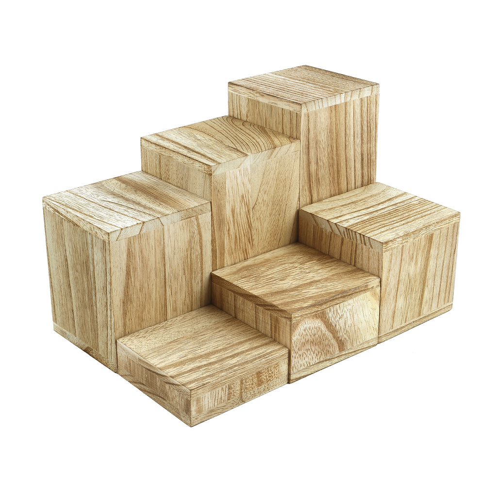 Ikee Design® Wooden 6 Pcs Square Risers for Display Jewelry and Accessories
