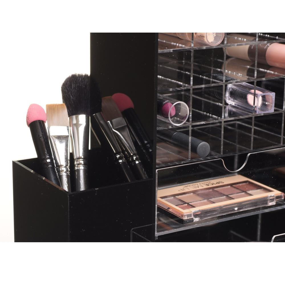 "Ikee Design® All in One Black Premium Acrylic Cosmetic Organizer Unit 9 7/8"" x 6 3/4"" x 13 1/2"""