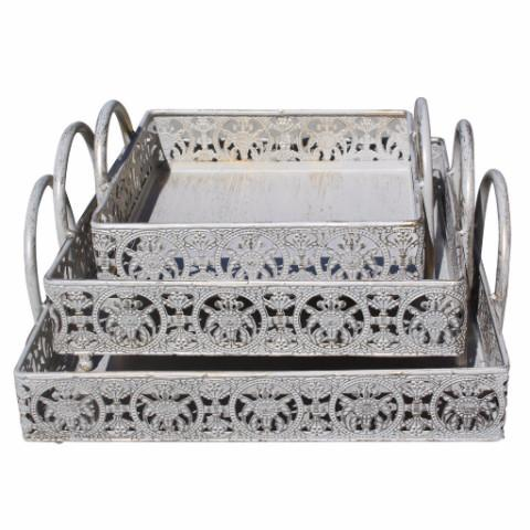Ikee Design®Metal Rustic Storage Organizing Tray of Various Sizes (Sold as 3 Pcs)