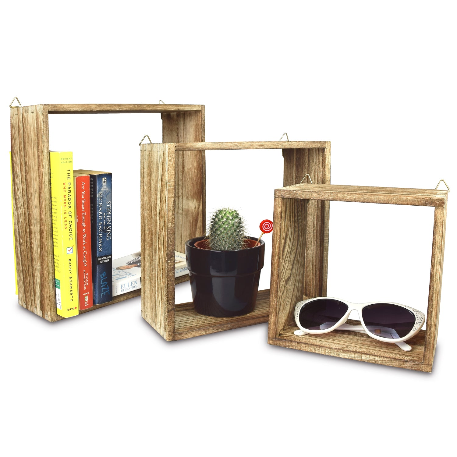 Ikee design wooden square wall mounted floating display shelves set of 3