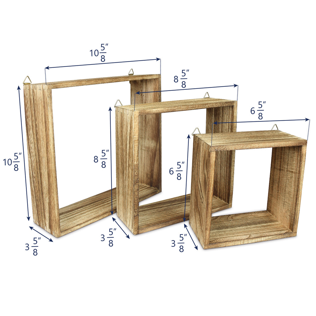 Ikee Design® Wooden Square Wall Mounted Floating Display Shelves, Set of 3