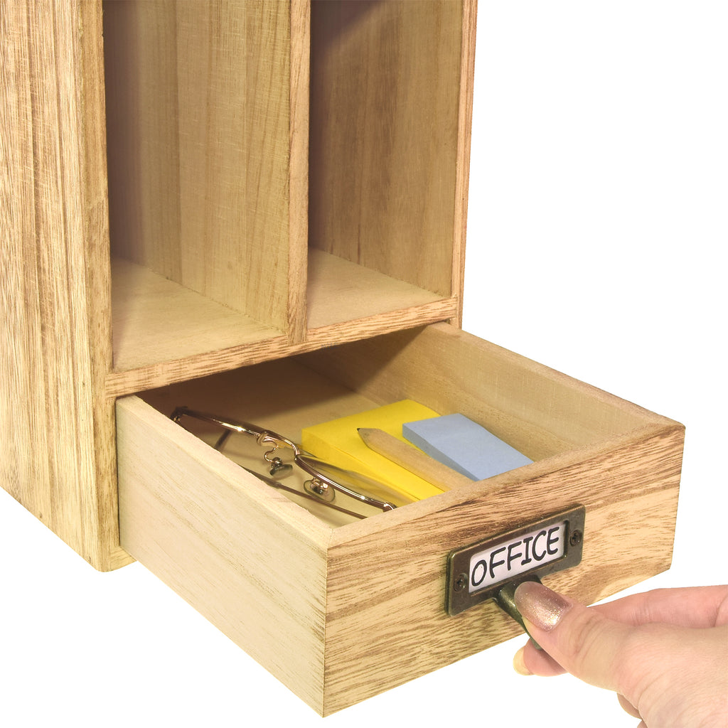 Ikee Design® Oak Color Adjustable Wooden Desk Organizer