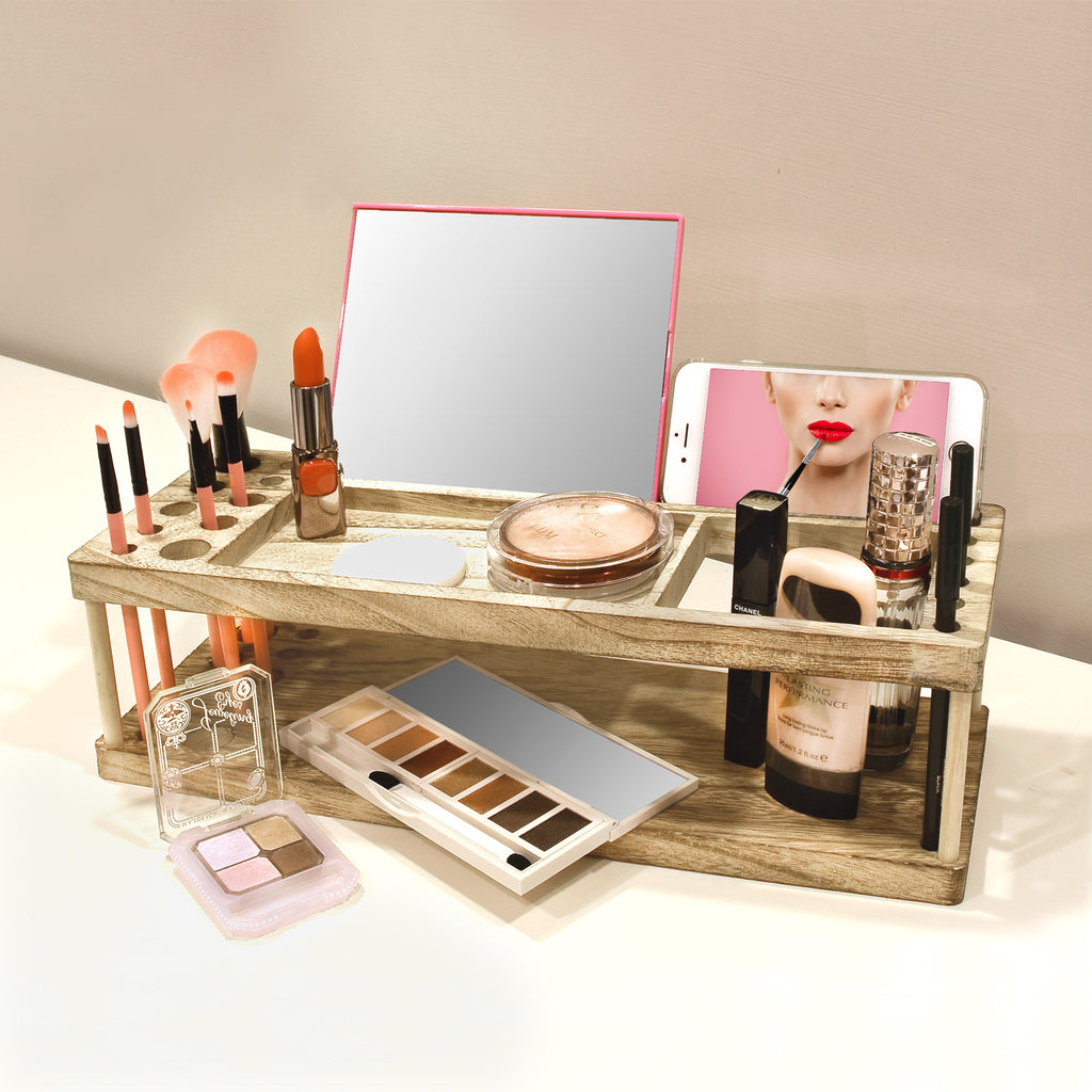 Ikee Design® Wooden Beauty Station Makeup Brush Organizer with Phone and Device Station