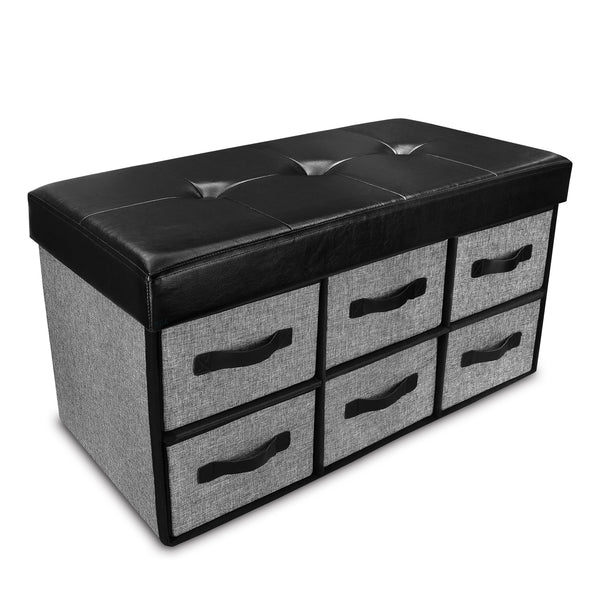 Ikee Design® Folding Storage Bench Collapsible Foot Rest Stool with 6 Drawer