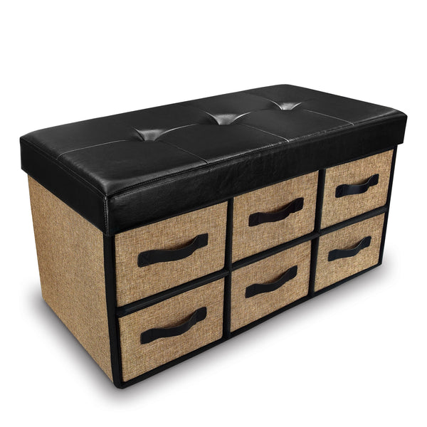Ikee Design® Black Leatherette Tufted Storage Bench with Six Drawers