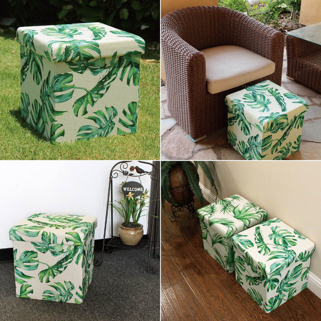Ikee Design® Split Leaf Philodendron Polyester Folding Storage Ottoman Foot Rest
