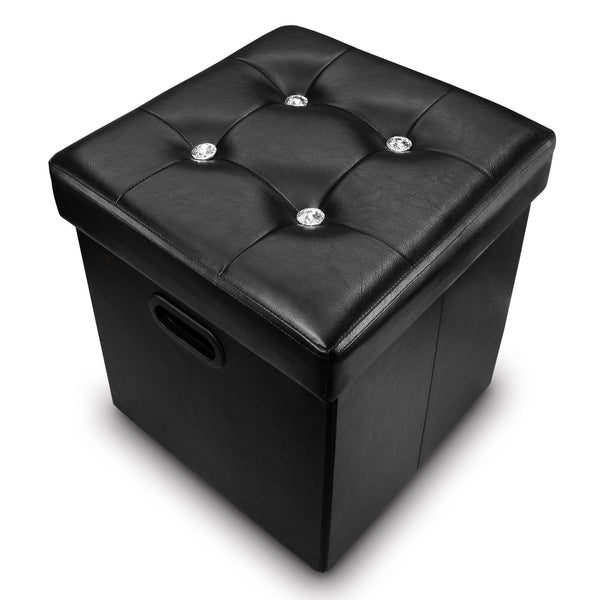 Ikee Design® Black Leatherette Tufted Storage Ottoman with File Holder