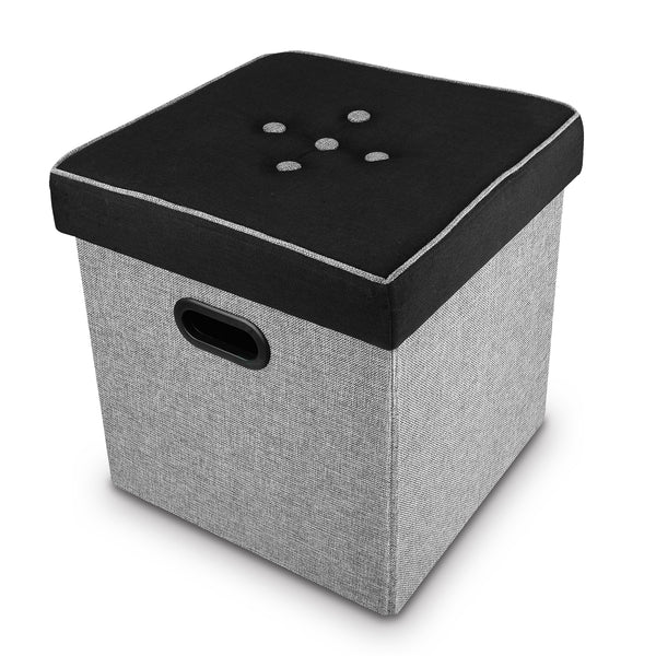 Ikee Design® Black and Gray Linen Storage Ottoman Footstool
