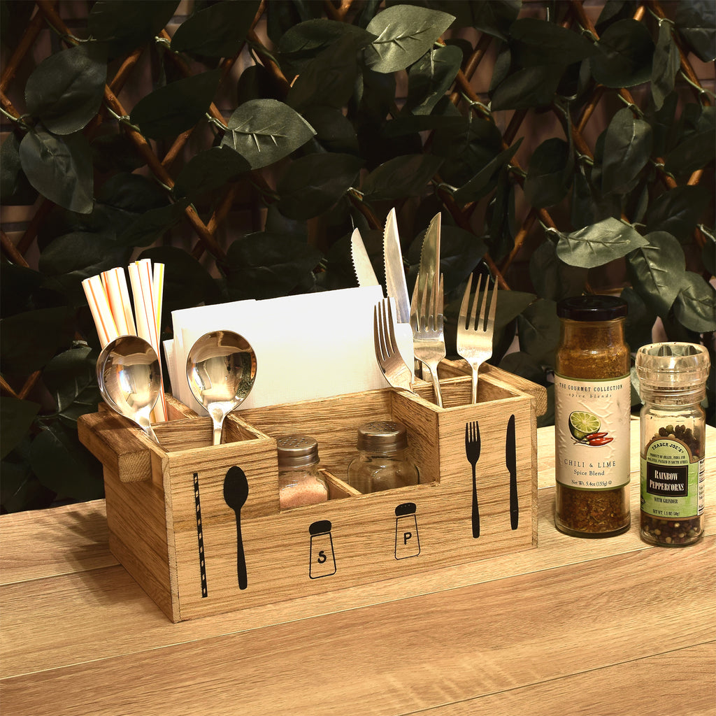 Ikee Design® Wooden 7 Compartments Utensil Holder, Kitchen Condiments, and Flatware Organizer