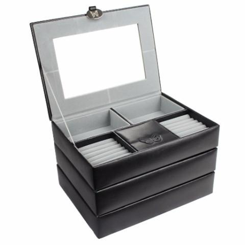 "Ikee Design® White or Black Stackers Leatherette Jewelry Boxes. 10 1/4""W x 7 1/2""D x 6 1/4""H"