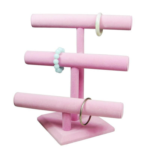 "Ikee Design® Deluxe Velvet T-Bar Display, 12""L x 13 1/4""H, Blue or Pink 