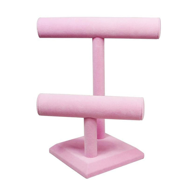 "Ikee Design® Deluxe Velvet T-Bar Display, 9 5/8""L x 10 7/8""H, Blue or Pink"