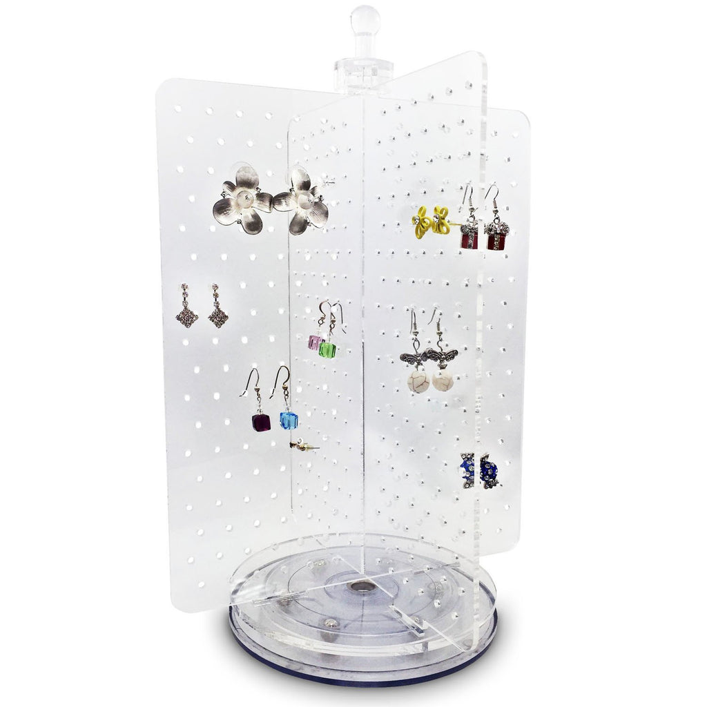 Ikee Design®Acrylic Rotating 216 Pairs Earring Display Jewelry Display Earring Organizer Earring Holder. Made In Taiwan