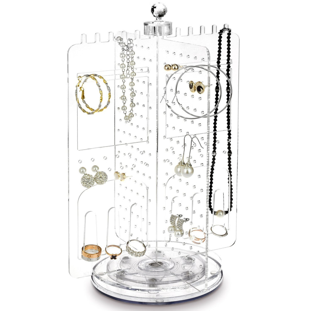 Ikee Design® Premium Acrylic Rotating Jewelry Stand Earring Holder Accessories Organizer