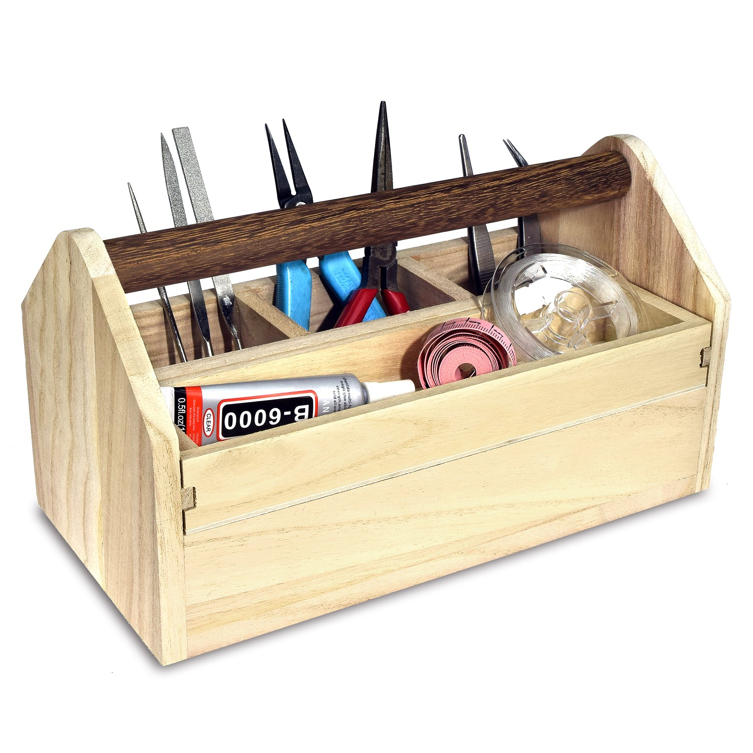 Ikee Design Natural Wood Color Wooden Tool Box With Handle