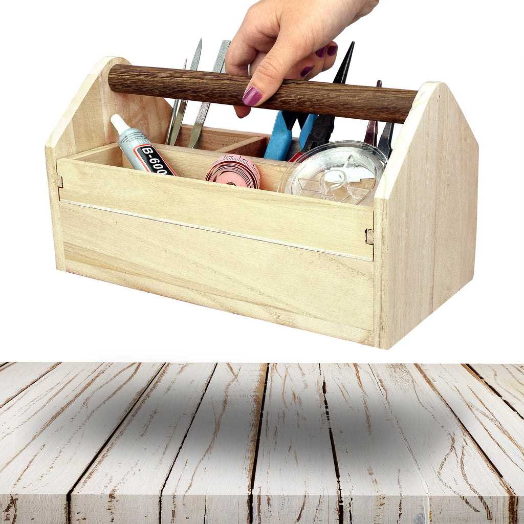 Ikee Design® Natural Wood Color Wooden Tool Box with Handle