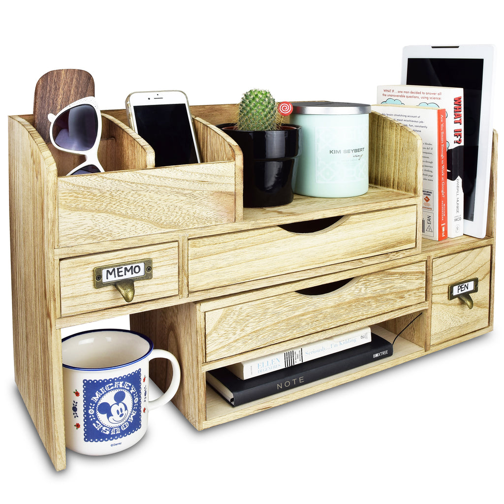 Ikee Design® Adjustable Wooden Desktop Organizer Office Supplies Storage Shelf Rack