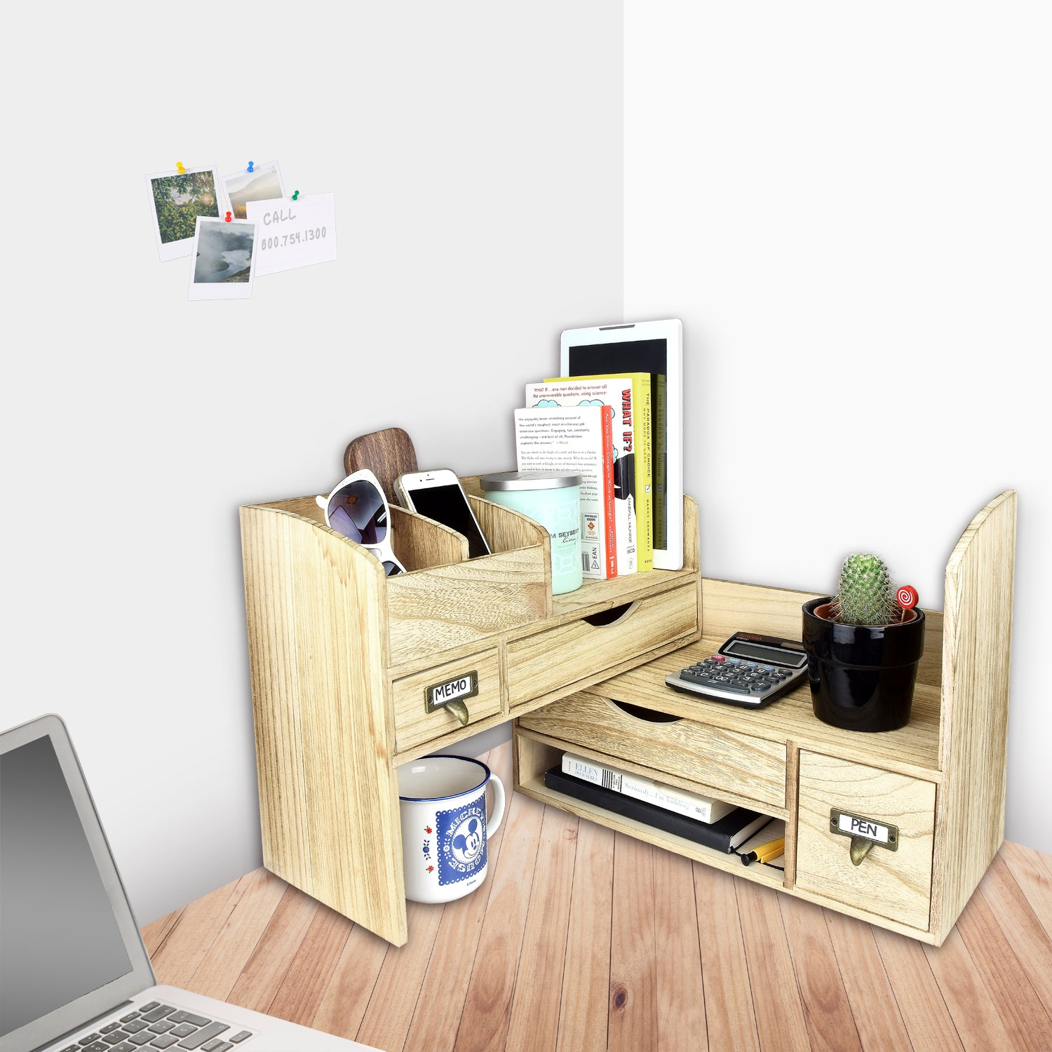 ikee design adjustable wooden desktop organizer