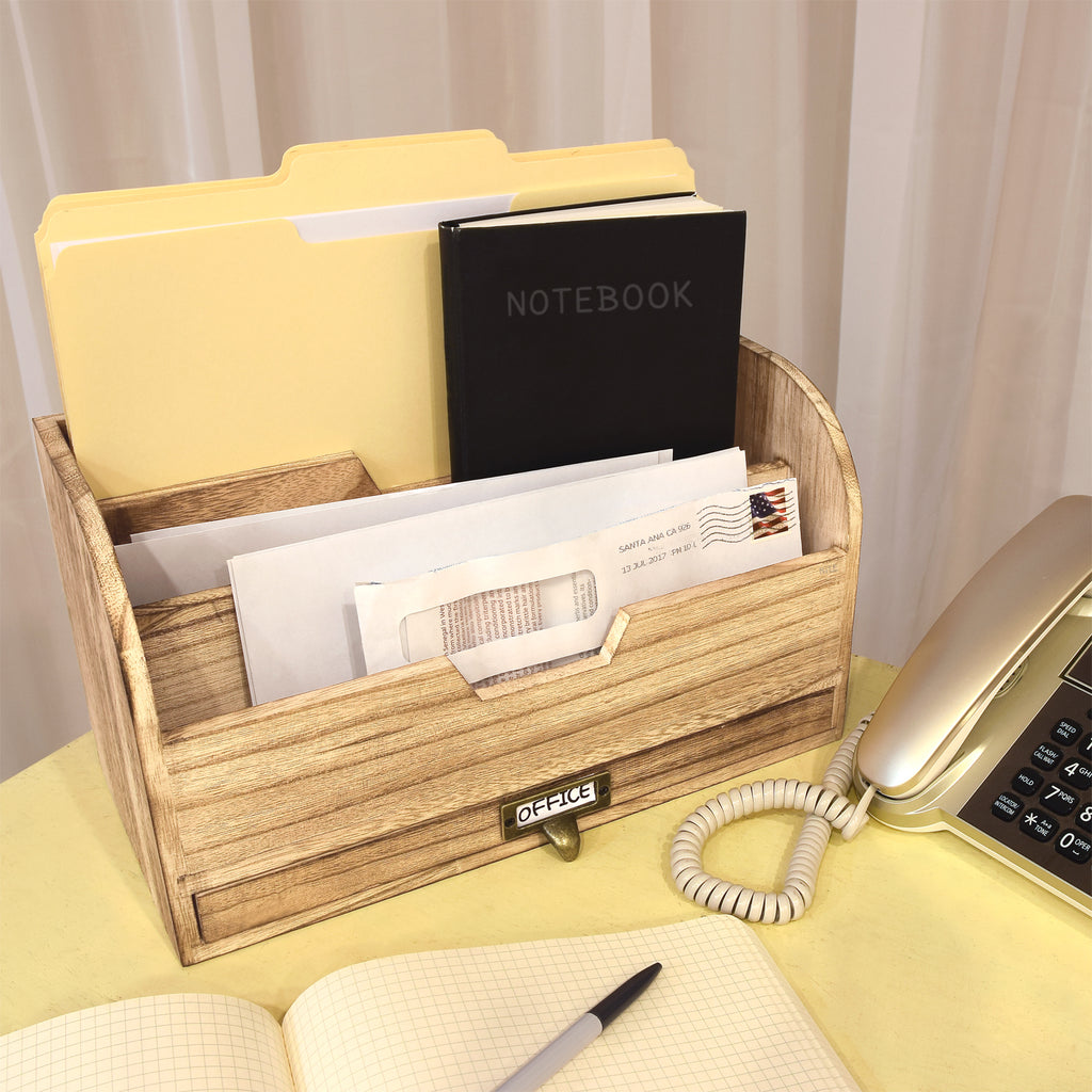 Ikee Design® Wooden Desktop Organizer File Storage