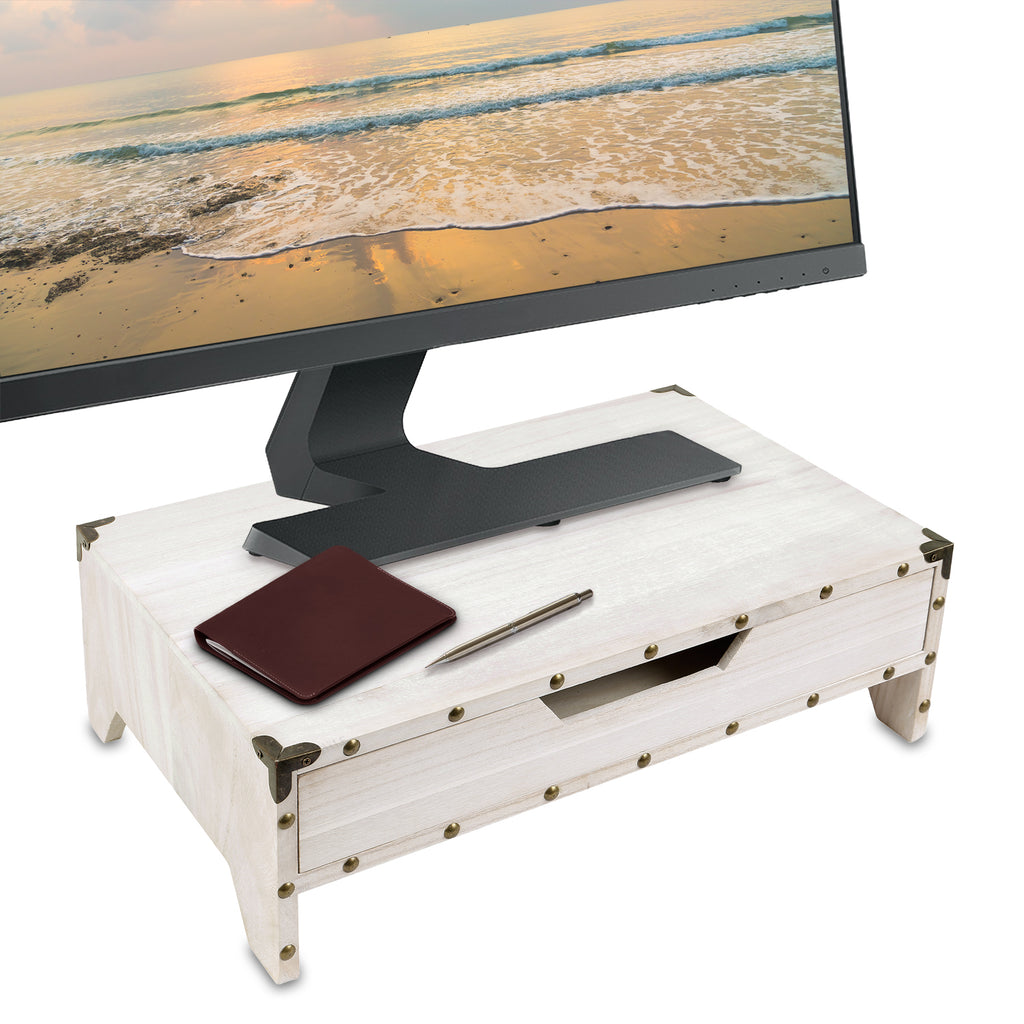 Ikee Design®Monitor Stand Riser Desk with Pull Out Drawers and 3 Compartments
