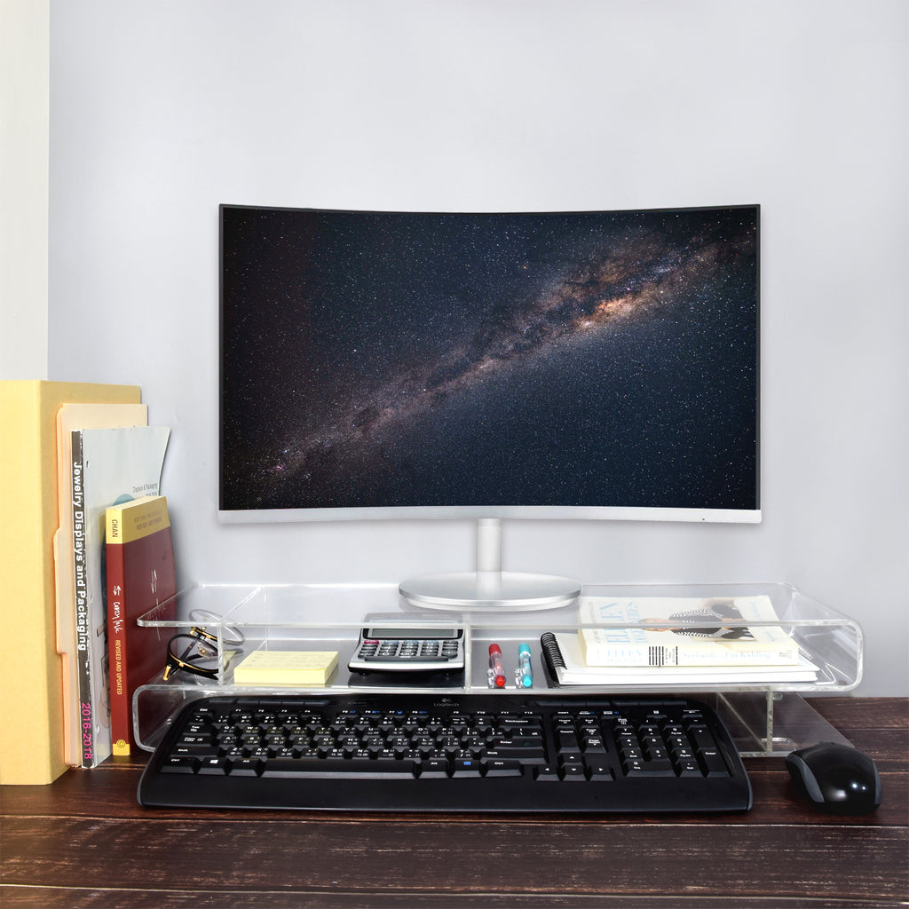 IKEE DESIGN®: Acrylic Monitor Stand Holder Personal Computer Rack