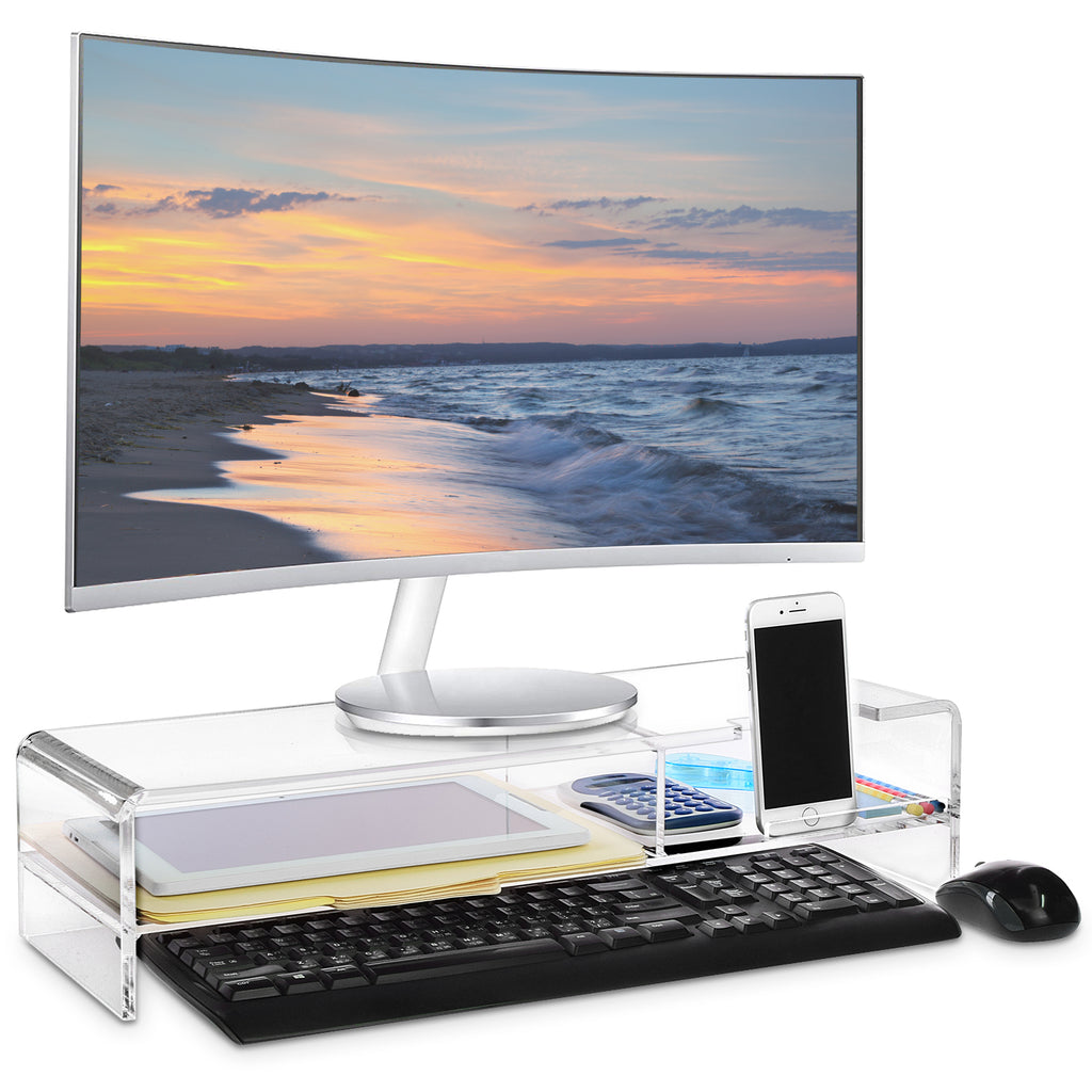 Ikee Design® Premium Acrylic Monitor Stand with 2 Compartments